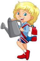 chica británica sosteniendo regadera gris