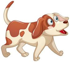 A cute dog with happy face cartoon character on white background