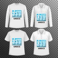 Set of different male shirts with Greece flag screen on shirts isolated