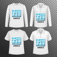 Conjunto de diferentes camisas masculinas con pantalla de bandera de Grecia en camisas aisladas