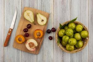 Assorted mid autumn fruit background