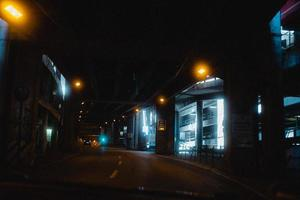 Augsburg, Germany, 2020 - Road through a parking garage at night