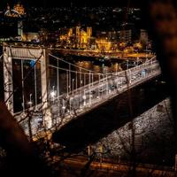 Budapest, Hungary, 2020 - Aerial view of the Elisabeth Bridge at night