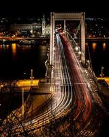 Budapest, Hungary, 2020 - Long-exposure of car lights on the Elisabeth Bridge at night