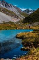 Beaufort, France, 20200 - Hikers near Fairy Lake in the French Alps