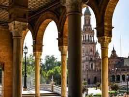 Seville, Spain, 2020 - View of a tower in the Plaza de Espana