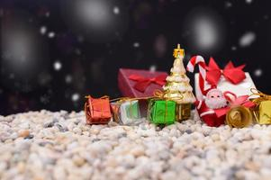 Merry Christmas background with miniature objects