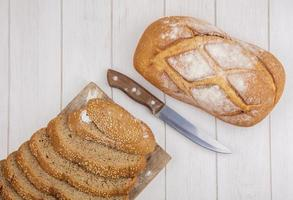 Assorted bread on neutral background