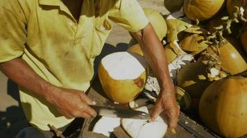 coconut street vendor preparing a fresh coconut