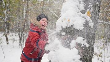 Enfant jouant à lancer des boules de neige derrière l'arbre dans le parc d'hiver