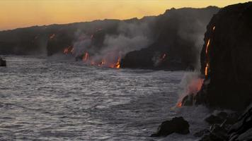Steam Rising Volcanic Lava Flowing Into Ocean