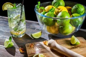 Ingredients for a fresh cold drink with citrus