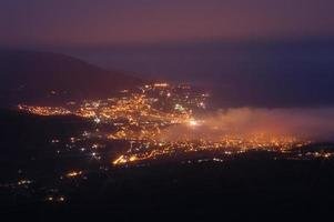 Aerial view of Yalta city at night photo