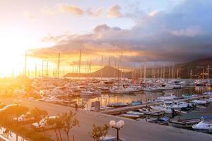 Yacht marina at sunset. Montenegro. photo