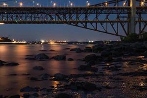 Bridge to Quebec city at night photo