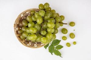 Grapes on gray background with copy space