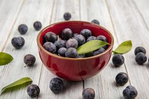 Dark berries in a red bowl