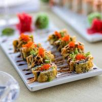 Colorful sushi roll with salmon