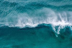 Aerial view of blue ocean waves