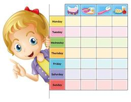 Chore chart template with girl vector