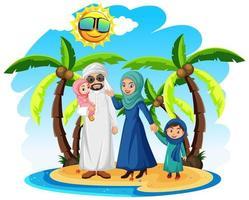 familia musulmana árabe de vacaciones vector