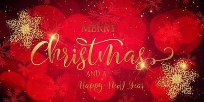 Christmas banner with glittery snowflakes and decorative text vector