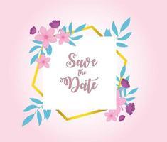 elegante floral guardar la tarjeta de fecha