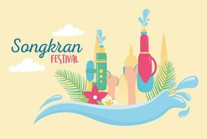 Songkran Festival celebration vector