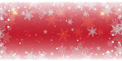 diseño de banner rojo de copo de nieve de navidad