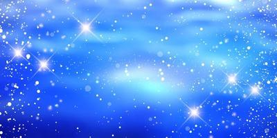banner navideño con diseño de copos de nieve y estrellas