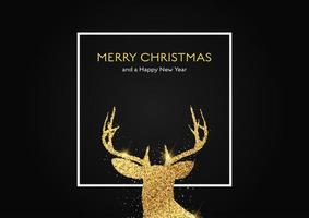 Christmas background with glittery gold deer head vector