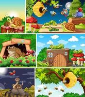 conjunto de diferentes insectos de dibujos animados en fondos de la naturaleza vector