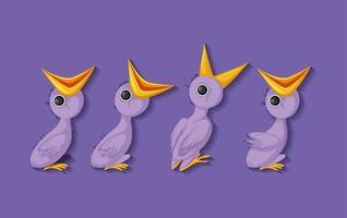 personajes de dibujos animados de pollitos morados