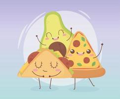 Kawaii food cartoon character composition