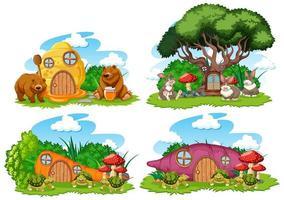 Set of fantasy garden houses vector