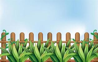 Fence with plants background vector