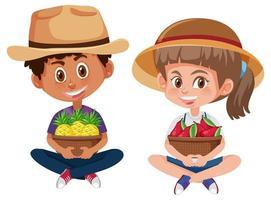 niños sosteniendo frutas en cestas vector