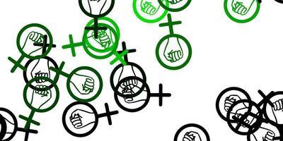 patrón verde con elementos feministas. vector