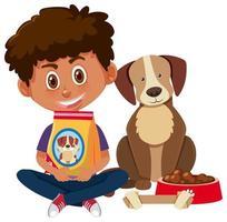 niño sosteniendo comida para perros con lindo perro