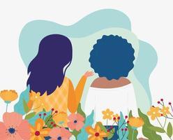 Banner de celebración de primavera con mujeres y flores.