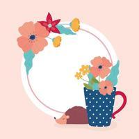 arreglo floral y etiqueta con erizo