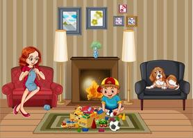 Scene with family relaxing in living room