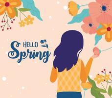 hola banner de celebración de primavera con mujer y flores