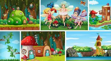 Six different scene of fantasy worlds vector