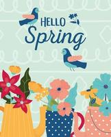 Hello Spring celebration poster with flowers