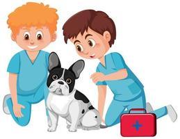 médicos veterinarios y lindo perro vector