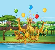 Giraffe party theme design vector