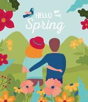 hola cartel de celebración de primavera con pareja y flores