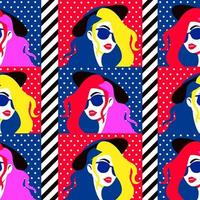 Stylish woman in sunglasses, seamless pattern vector