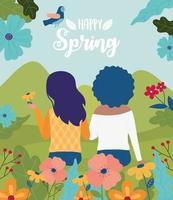 cartel de celebración de primavera feliz con mujeres y flores